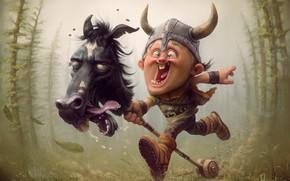 Picture mood, art, Viking, viking, horse, Tiago Hoisen