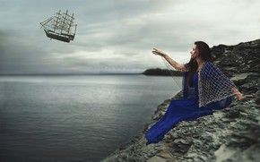 Picture sea, the sky, dream, girl, landscape, clouds, pose, fantasy, overcast, shore, network, ship, hand, sailboat, …