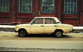 Picture car, machine, the building, europe, retro, winter, old, street, old, architecture, bright, building, belarus, cityscape, …