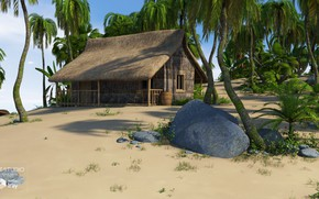 Picture stones, palm trees, barrel, building, SecludedIsland