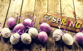 Picture eggs, spring, Easter, wood, spring, Easter, purple, eggs, decoration, Happy