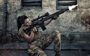 Wallpaper face, assault rifle, shooting, fire, girl, form, weapons