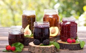 Picture raspberry, strawberry, banks, fruit, peach, BlackBerry, jam, jam, figs
