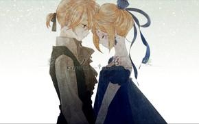 Picture snow, romance, anime, art, Vocaloid, Vocaloid, characters