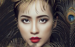 Picture look, girl, face, feathers, makeup, lipstick, Asian, peacock feathers