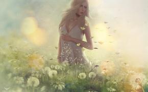 Picture girl, meadow, blonde, dandelions