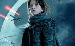 Picture fiction, poster, Felicity Jones, Felicity Jones, Rogue One, Rogue-one: Star wars. History