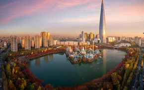 Picture autumn, lake, Park, building, tower, home, South Korea, Seoul, Seoul, South Korea, N Seoul tower, ...
