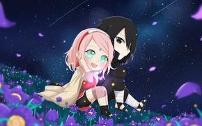 Picture Sasuke, Sakura, naruto, night, chibi, art, by -PiKa-