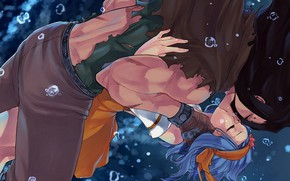 Picture romance, kiss, pair, Fairy Tail, Levi, Fairy tail, Gadgil