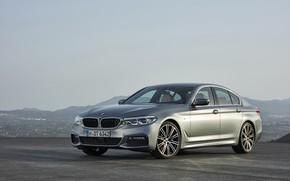 Picture the sky, asphalt, mountains, grey, BMW, sedan, side view, 540i, 5, M Sport, four-door, 2017, …