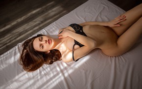 Wallpaper look, pose, model, naked, makeup, figure, hairstyle, bed, lies, brown hair, beauty, bra, on the ...