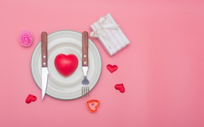 Picture love, gift, heart, knife, hearts, love, plug, romantic, Valentine's Day, serving