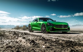 Picture road, the sky, design, green, Mercedes GTR