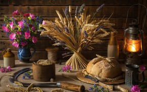 Picture wheat, flowers, spikelets, bread, mug, lantern, still life, hammer, lavender