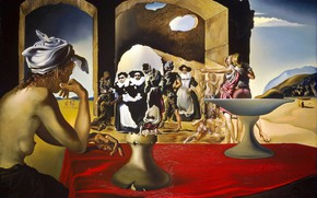 Wallpaper surrealism, picture, Salvador Dali, Salvador Dali, Slave market with the apparition of the Invisible Bust ...