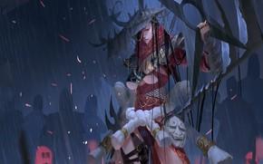 Picture girl, sword, fantasy, magic, rain, horns, hat, weapons, shadows, artwork, mask, fantasy art, Witch