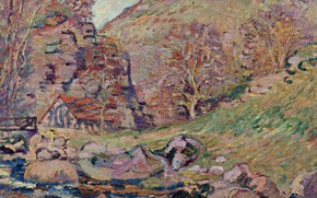 Picture landscape, picture, Arman Hyomin, Armand Guillaumin, The ruins of the Crozant Castle and the Watermill
