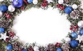Picture snow, balls, New Year, Christmas, merry christmas, decoration, xmas, frame