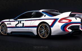 Picture Concept, Auto, Figure, Machine, BMW, Art, Hommage, Side view, German, Bavarian, BMW 3.0 CSL, Hommage …