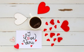 Picture love, heart, coffee, Cup, hearts, red, love, I love you, heart, wood, romantic, coffee cup