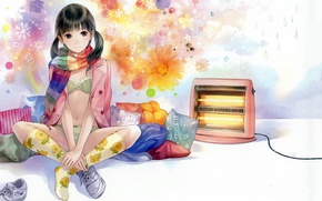 Picture girl, drops, snowflakes, pillow, scarf, knee, flowers, sitting, sneakers, heater