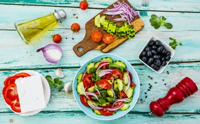 Picture food, cucumber, bow, tomatoes, olives, olive oil, pepper, Greek salad, feta cheese