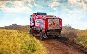 Picture Red, Sport, Truck, Race, Rally, Rally, The roads, 304, MAZ, Silk road, Silk Way, MAZ, …
