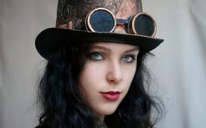 Wallpaper look, face, hat, glasses, steampunk, Steampunk