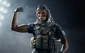 Picture Tom Clancy's, Tom Clancy's Rainbow Six Siege, rifle, pose, soldier, blonde, tatoo, american flag, Rainbow ...