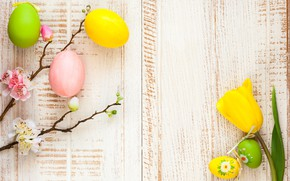 Wallpaper spring, Easter, tulips, the painted eggs, spring, Happy, branches, decoration, wood, blossom, Easter, tulips, apple, ...