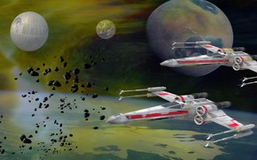 Picture planet, Star Wars, Star Wars, The Death Star, Death Star, cetatenie devices, Fighter Duo, X-wing …