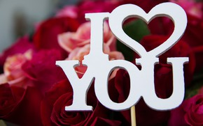 Picture flowers, letters, the inscription, Holiday, Valentine's day