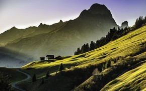 Picture mountains, morning, slope, Alps, house