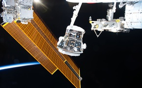 Wallpaper NASA, orbit, ISS, solar battery