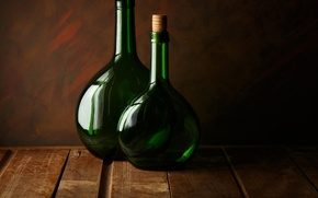 Picture glass, two, bottle, Two green bottles