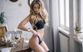 Wallpaper pose, table, panties, figure, topic, curls, Mari, Alexey Starski