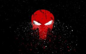 Wallpaper red, sake, art, the punisher, the Punisher, black background, skull, fragments