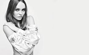 Picture look, girl, sweetheart, model, black and white, actress, beautiful, silk, Lily-Rose Depp, Lily-Rose Depp