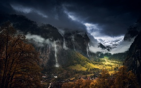 Picture autumn, the sky, clouds, mountains, clouds, Switzerland, valley, Lauterbrunnen, municipality, the Canton of Bern, Staubbach …