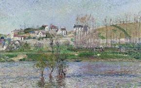 Picture landscape, picture, spring, Camille Pissarro, Flood in PONTOISE