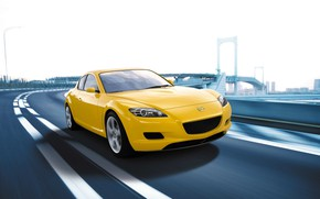 Wallpaper Auto, Road, The city, Speed, Yellow, Mazda, Mazda RX 8