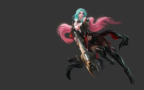 Picture girl, weapons, the game, fantasy, korea, CABAL, Solar interference signal, fluff.