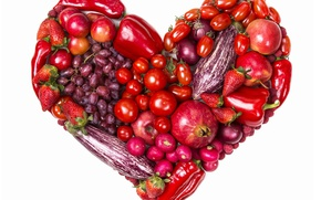 Picture raspberry, apples, heart, strawberry, grapes, pepper, fruit, vegetables, tomatoes, heart, grapes, strawberry, garnet, fruits, apples, …