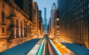 Picture the city, lights, home, the evening, excerpt, Chicago, USA