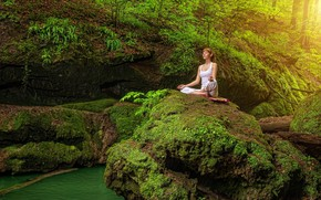 Wallpaper the Lotus position, hairstyle, water, girl, in white, greens, meditation, sitting, yoga, forest, pose, nature, ...