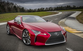 Picture road, car, machine, trees, clouds, Lexus, red, car, road, trees, clouds, asphalt, Lexus LC 500