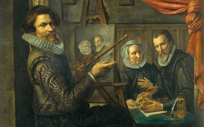 Picture oil, picture, canvas, The artist in His Studio, Herman van Vollenhoven, Depicting A Married Couple