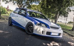 Picture Honda, Blue, White, Civic, EK4