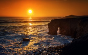 Picture sea, sunset, rock